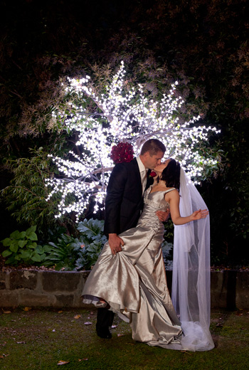 Wedding Photography Bram Leigh, showing fairy lights at night