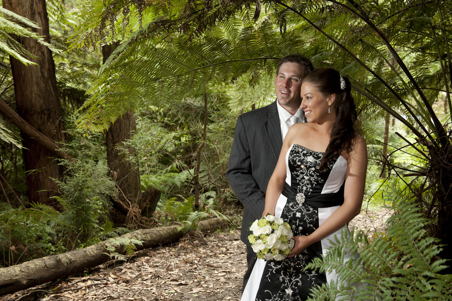 Wedding Photography showing Forest Edge winery native bushland in Gembrook
