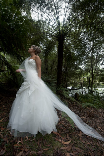 Artistic composition of a bridal portrait, forest edge Gembrook