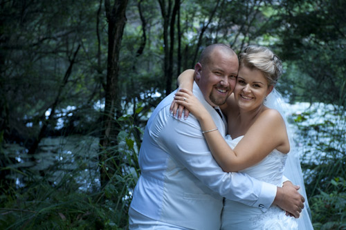 bride and groom in a forest setting, Gembrook Victoria.