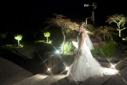 Night wedding photo in the rear garden of Forest Edge Gembrook