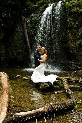 Wedding Photography Melbourne waterfall and bridal couple.