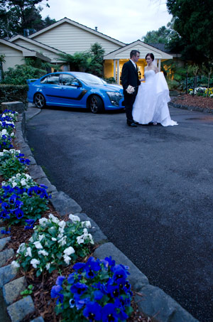 Wedding photography Melbourne showing Falcon XR6 wedding car at Bram Leigh