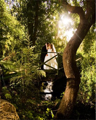 wedding photo of bridal couple on the bridge at Chateau Wyuna