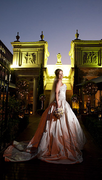 Wedding Photography of Bride outside The Willows at night