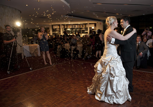 Melbourne wedding photographer image showing bridal couple dancing