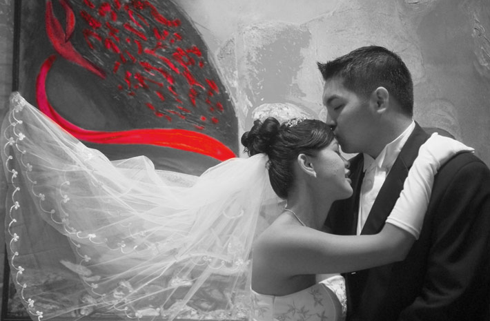 Wedding Photography showing decorative art with bridal couple