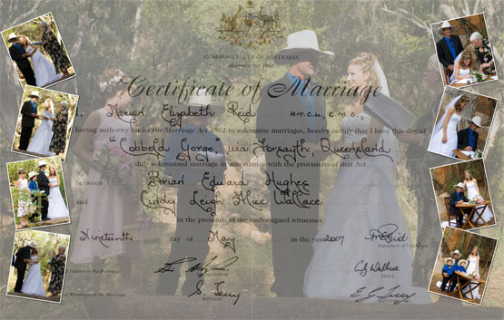 Wedding Photo collage using marriage certificate and ceremony images.