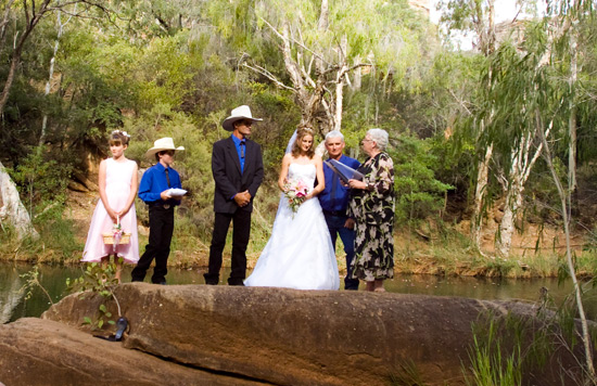 Outback wedding party with marriage celebrant