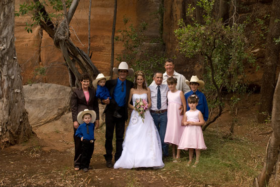 The official party at Cobbold gorge, following an outback wedding