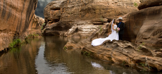 Wedding Photography with outback river and landscape