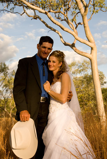 Evening light in outback landscape wedding photography