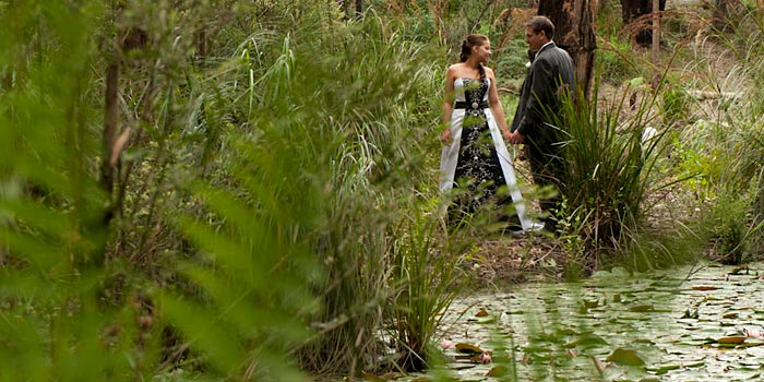Wedding Photography at the lake by forest edge