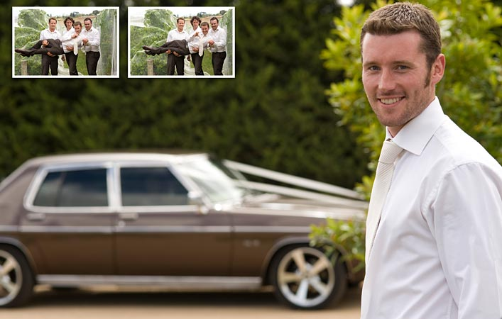 groom and groomsmen with holden statesman wedding car, pier 10
