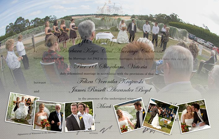 creative collage wedding certificate photo