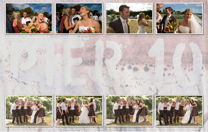 wedding photography collage of candid images, pier 10 winery