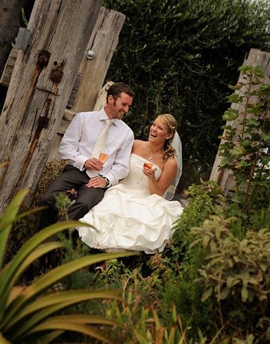 wedding couple on rustic pier, shoreham