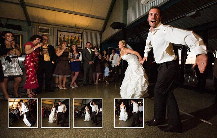 bridal couple break into surprise dance routine at reception