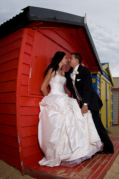Wedding Photography Melbourne bathing boxes, with bridal couple