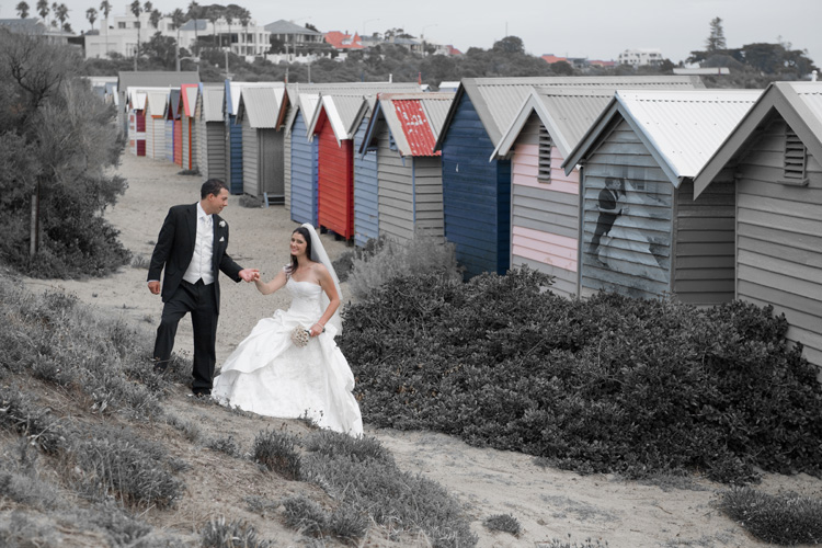 Wedding photography melbourne at brighton colored bathing boxes