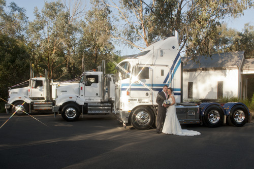 truck wedding with newlyweds