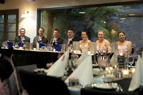 bridal party photo at head table, potters wedding