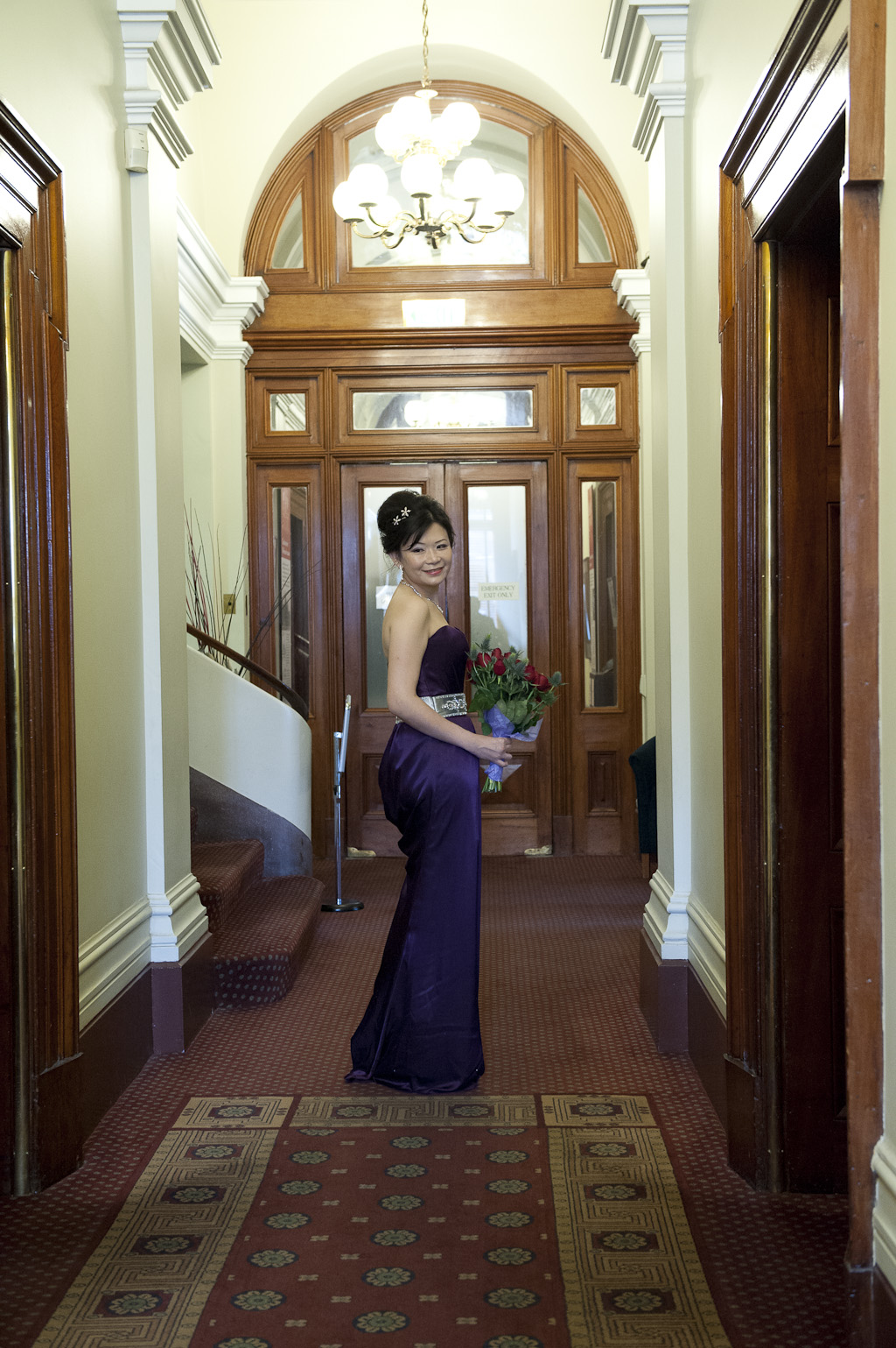 In old treasury building bridal portrait showing bride melbourne