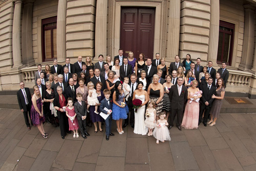 photo of parliament house steps complete melbourne wedding congregation