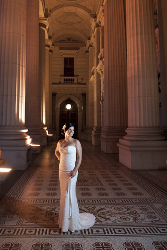 In melbourne, bride at the foyer entrance to parliament house