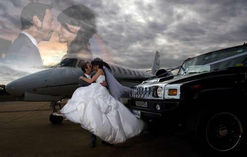 Wedding Photography Melbourne airport, showing a jet and bridal car with newlyweds.