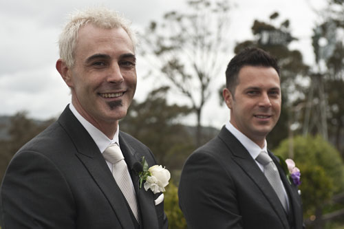 groom and groomsman await wedding ceremony