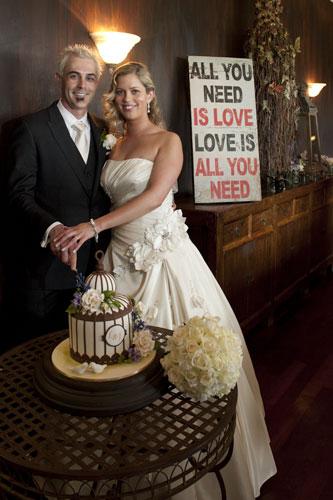 cutting of wedding cake, forest edge restaurant