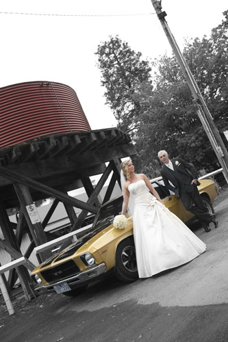 old holden sedan bridal car and newlyweds at gembrook station