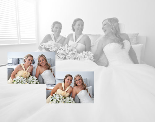 Bridesmaids and bride together before wedding