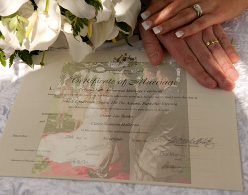 Treacy centre wedding certificate photo