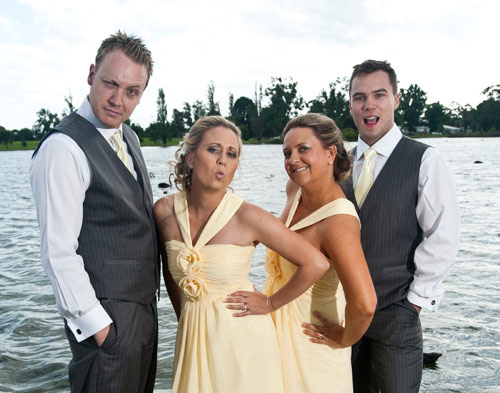 Wedding photo of bridal party enjoying the day