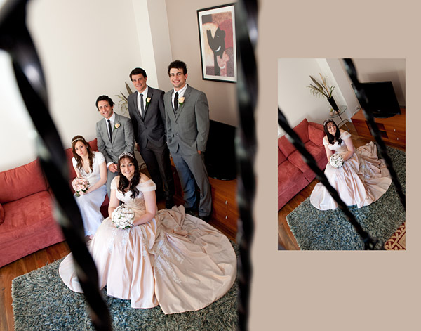 artistic composition through stair rails, showing bridal family