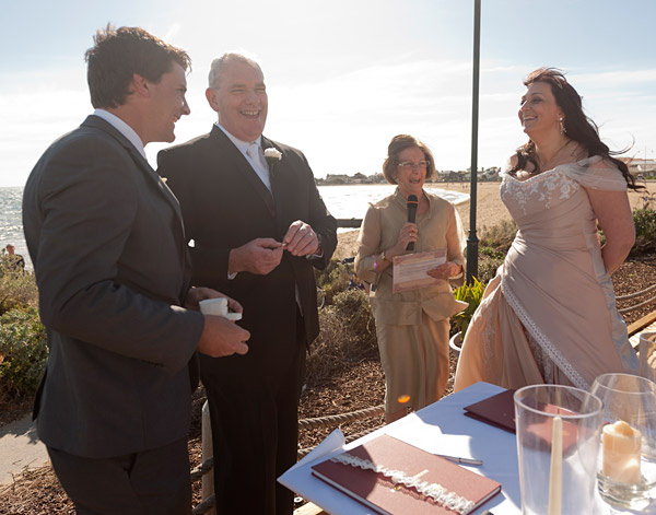 exchanging vows at sirens wedding venue